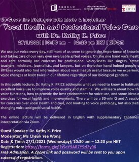 Up-Close Live Dialogue with Music and Musicians Series: Vocal Health and Professional Voice Care