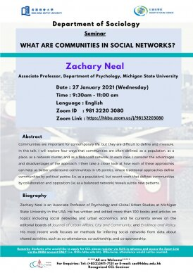Sociology Seminar: What are Communities in Social Networks?