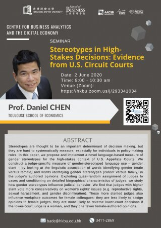 Prof. Daniel CHEN, Toulouse School   of Economics 