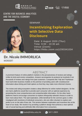 "Dr. Nicole IMMORLICA, Microsoft ""Incentivizing Exploration with Selective Data Disclosure"""
