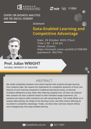 "Prof. Julian WRIGHT, National University of Singapore ""Data-Enabled Learning and Competitive Advantage"""