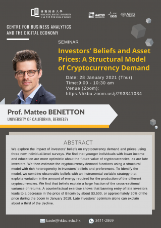 "Prof. Matteo BENETTON, University of California, Barkeley ""Investors' Beliefs and Asset Prices: A Structural Model of Crytocurrency Demand"""